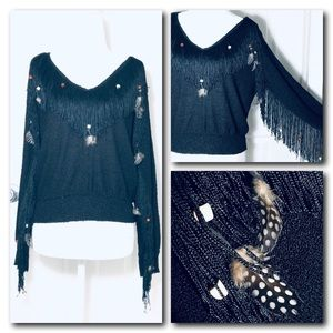 Black Bohemian Sweater with Fringe and Feathers